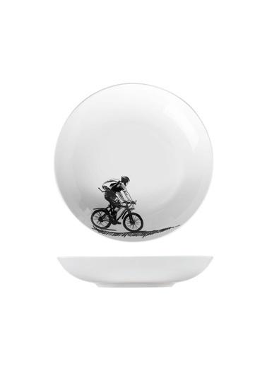 Kütahya Porselen Centilmen Serisi Çukur Tabak Bisiklet Renkli